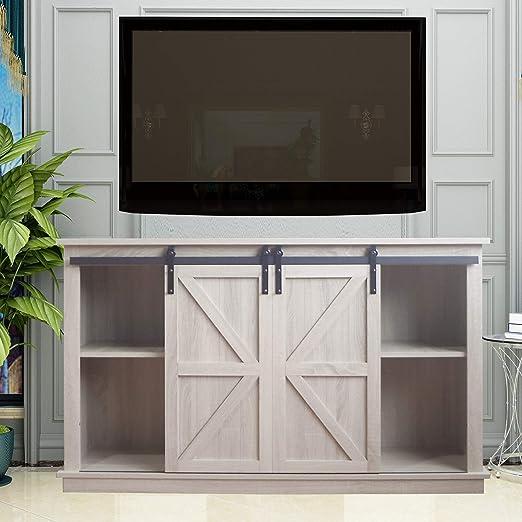Amazon Com Rainbow Sophia Farmhouse Sliding Barn Door Tv Stand White Oak Furniture Decor