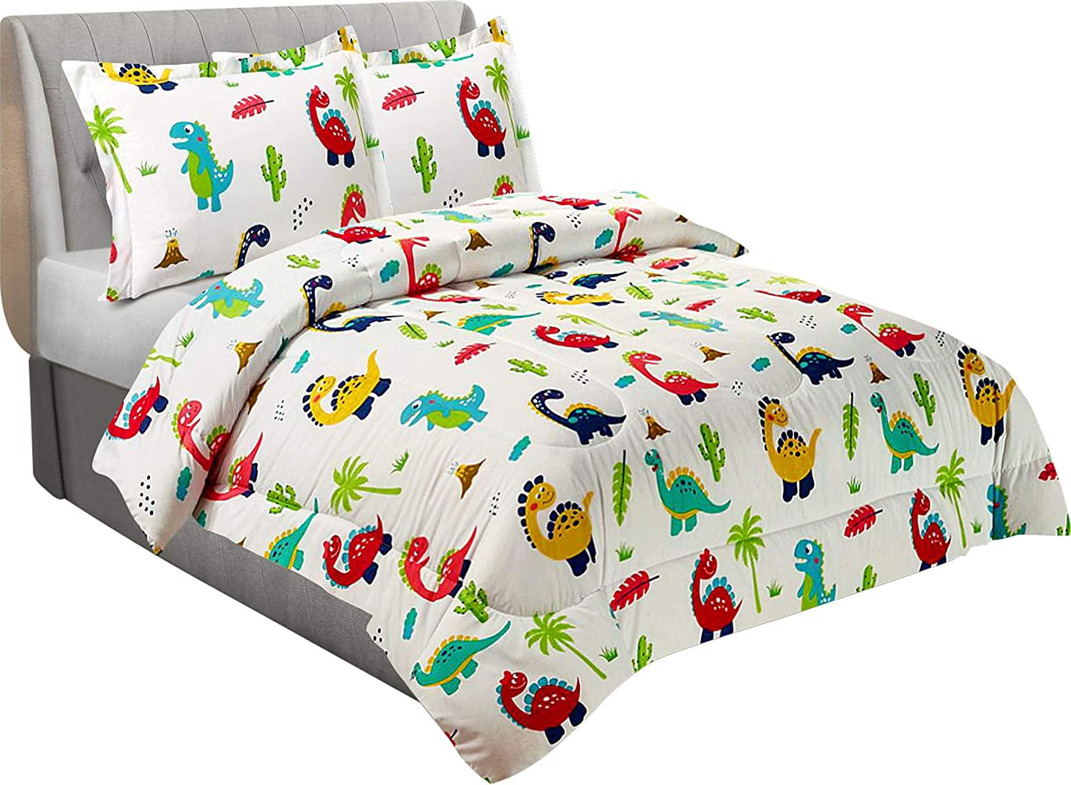 Utopia Bedding All Season Dinosaur Comforter Set with 2 Pillow Cases - 3 Piece Brushed Microfiber Kids Bedding Set for Boys/Girls - Soft and Comfortable - Machine Washable - White -(Twin/Twin XL)