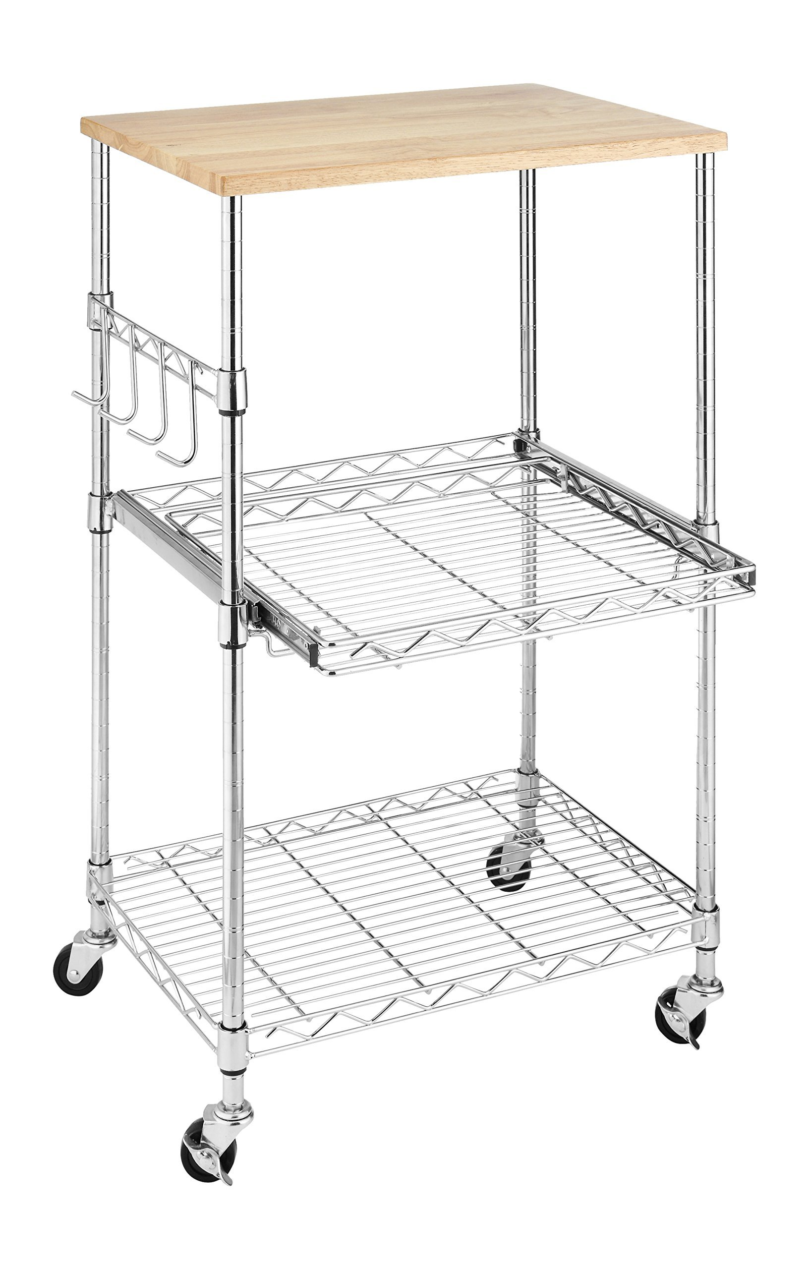 Whitmor Supreme Microwave Cart with Locking Wheels - Chrome with Food Safe Cutting Board (Renewed)