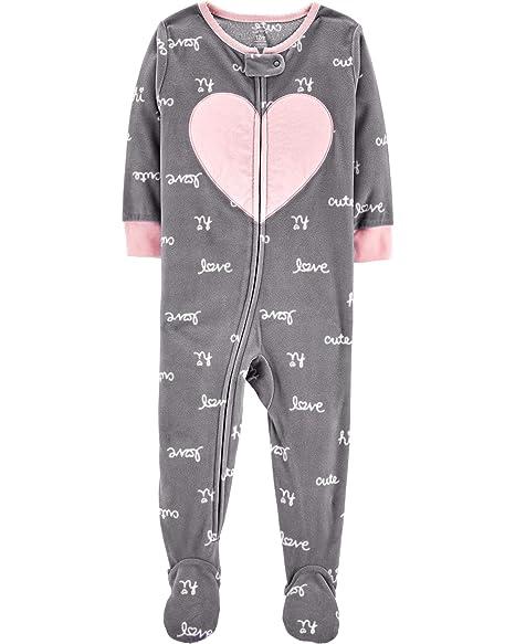 8666fe215587 Amazon.com  Carter s Baby Girls  12M-5T One Piece Fleece Pajamas ...