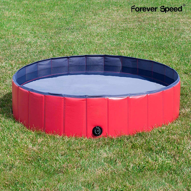 Forever Speed Piscina Perros,Gatos Bañera,Piscina Mascotas,Piscina para Niños Portátil Plegable Piscina de Baño Antideslizante,Resistente al Desgaste,PVC Doggy Pool (120X30cm Rojo)