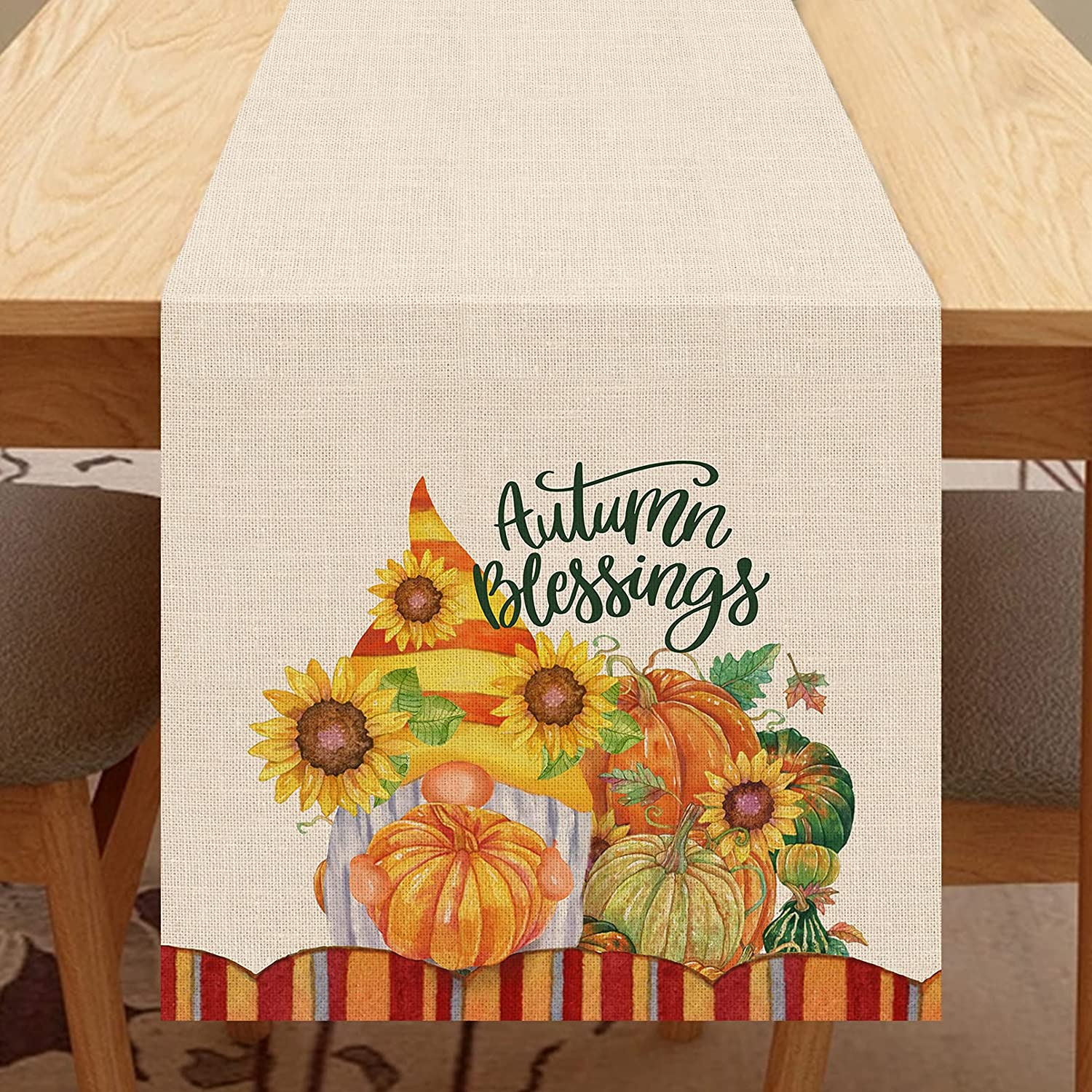 Seliem Autumn Blessings Pumpkin Patch Table Runner, Fall Gnome Table Scarf Home Kitchen Red Orange Sunflower Decor Sign, Seasonal Farmhouse Rustic Burlap Outdoor Dining Decoration Party Supply 13X72