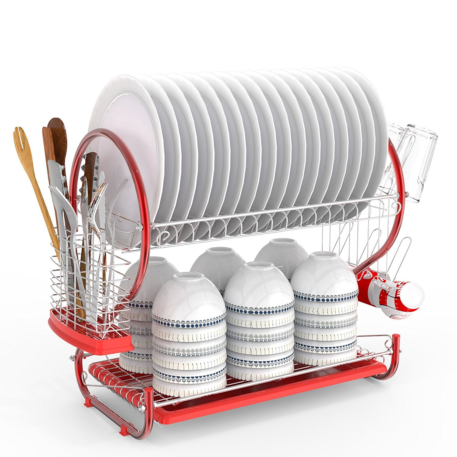 Simlive 2 Tier Dish Drainer Chrome Plated Stainless Steel Dish Rack with Tray and Cutlery Drainer for Kitchen Organization (Red)