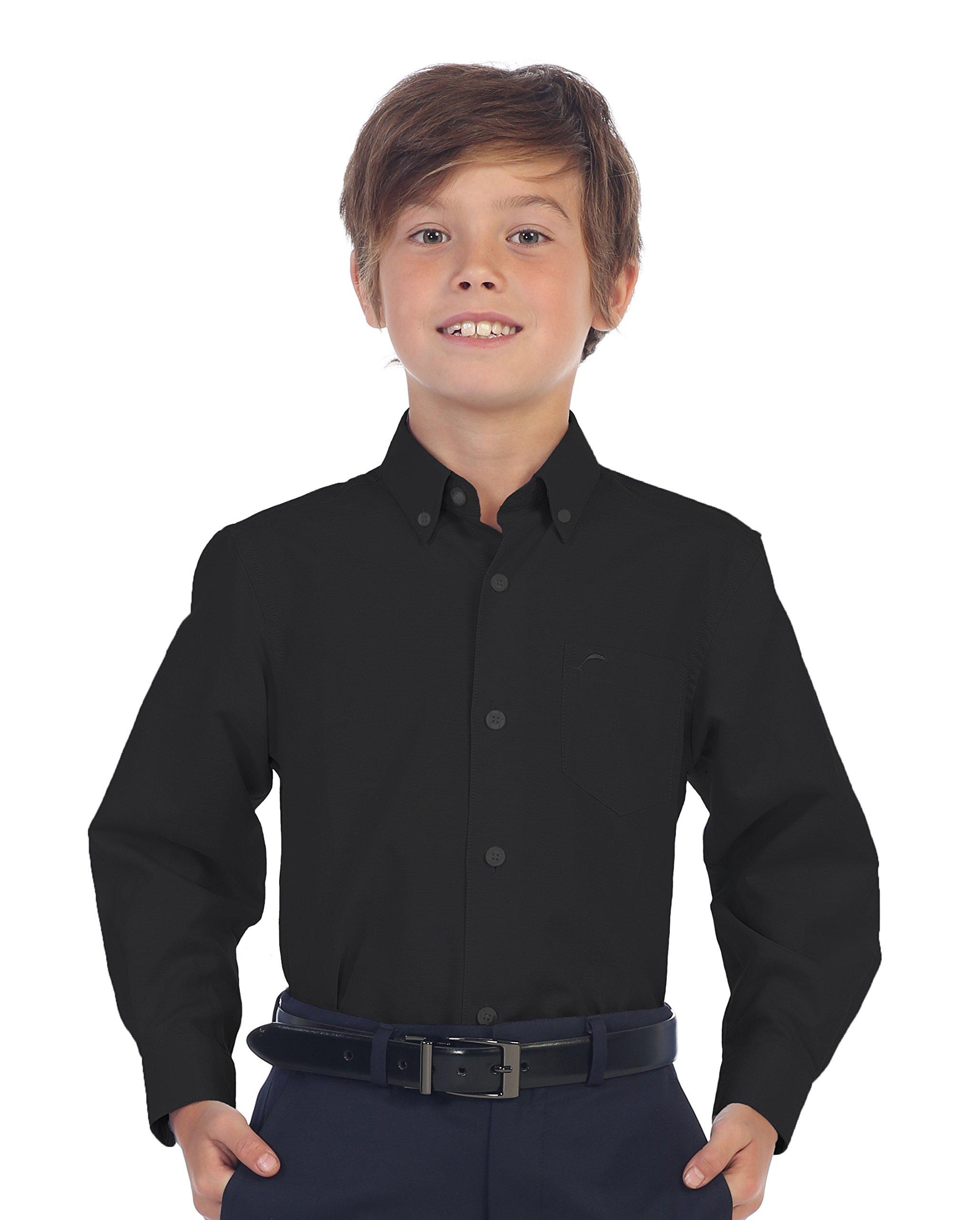 Gioberti Boy's Oxford Long Sleeve Dress Shirt, Black, Size 4