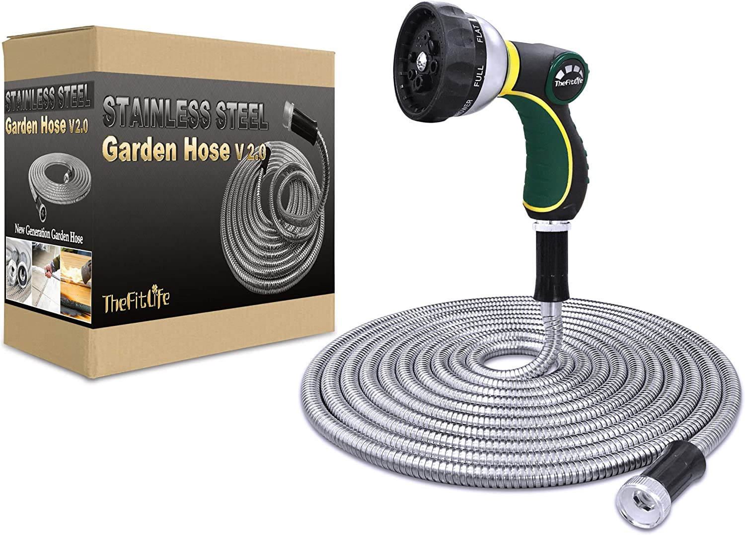 TheFitLife Flexible Metal Garden Hose - 25/50/75/100 FT 304 Stainless Steel Water Hose with Newest Spray Nozzle and Solid Metal Fittings, Lightweight, Kink Free, Durable and Easy to Store (75 Feet)