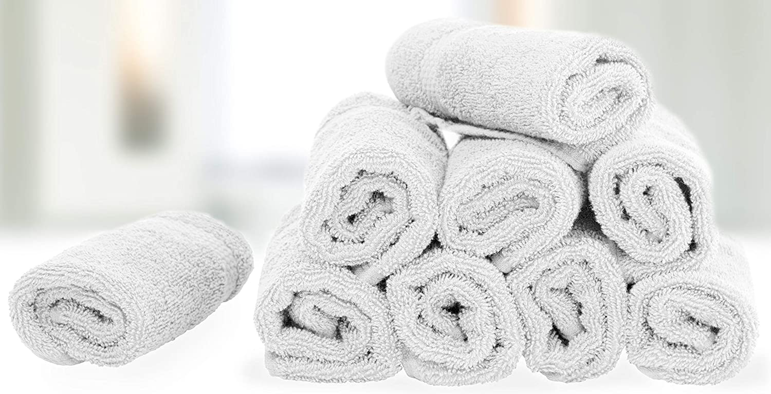 WhiteClassic Luxury Cotton Washcloths - Large Hotel Spa Bathroom Face Towel | 12 Pack | White: Home & Kitchen