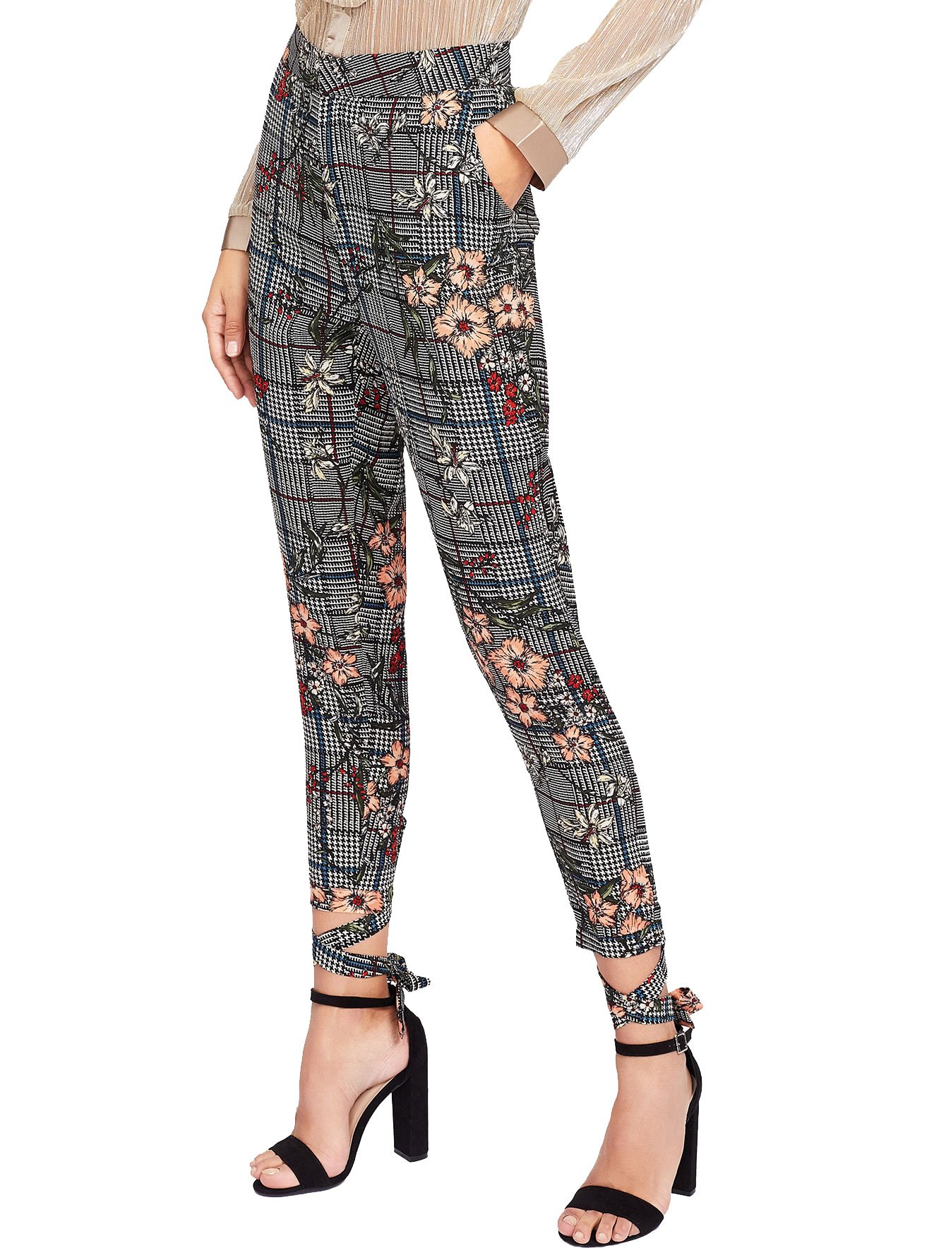 SweatyRocks Women's Floral Print Casual Plaid Capris Tie Cuff Skinny Work Pants (X-Large, Multi)