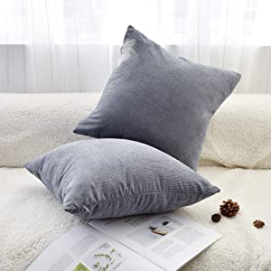 JS HOME Corduroy Square Throw Pillow Covers, Set of 2, Soft Luxurious Decorations for Sofa Couch, Chair & Bed(18