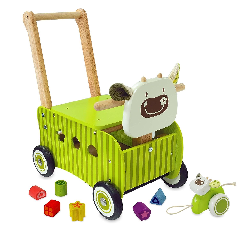 El vaca verde correpasillos de madera para bebes - IM87600 I M TOY