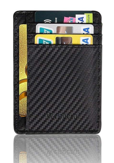 d1b7cba42a Wengerui Porta Carte di Credito e Tasche Pelle,RFID Blocco Portafoglio  Bifold Magico ID Clip