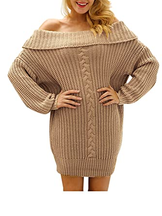 528b38707c Glamaker Women s Pullover Loose Sweater Dress Short Off Shoulder Knit Dress  Oversized Khaki