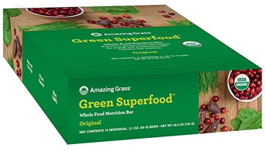 Amazing Grass Green Superfood Whole Food Nutrition Bar - Original 12 - 2.1 OZ. (60 G) BARS