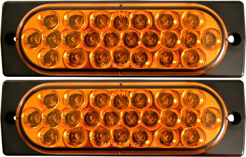 2x Surface Mount Amber LED Strobe Lights 6'' Oval Strobe Lights