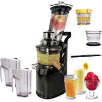Powerful Masticating Juicer for Whole Fruits and Vegetables, Fresh Healthy Juice, Sorbet, Ice Cream, Wide Mouth 75mm Feeding Chute, BPA Free, 240-Watt, Cold Press, Black Stainless Steel Fridja f1900