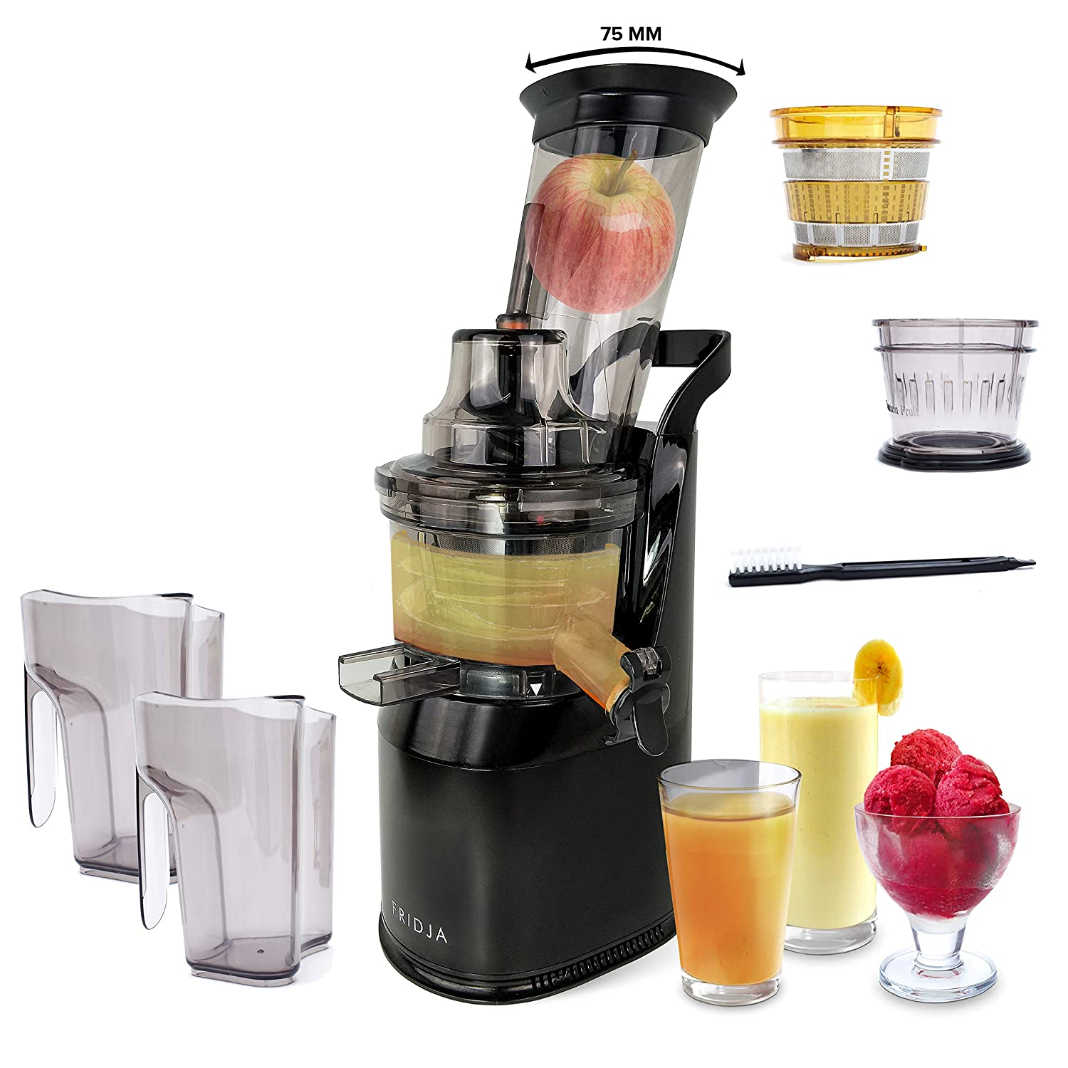 Powerful Masticating Juicer for Whole Fruits and Vegetables - Creates Fresh Healthy Juice, Sorbet, Ice Cream, Tilted Wide Mouth 75mm Feeding Chute, BPA Free, 240-Watt, Quiet, Slow Speed, Cold Press, Black Stainless Steel - Fridja f1900 Sergio