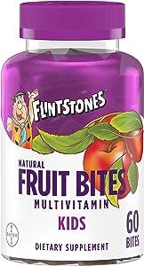 Flintstones Kids Natural Fruit Bites Multivitamin with Immune Health Support, 60 Count (1 Month Supply), Gluten Free Vitamins for Kids with Vitamin A, Vitamin D, Vitamin B6, B12, Biotin & More