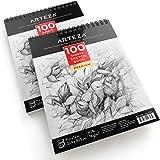 """Arteza Sketch Book 9X12"""", Sketch Pad (50lb/74g, 100 Sheets, 2 Pack)"""