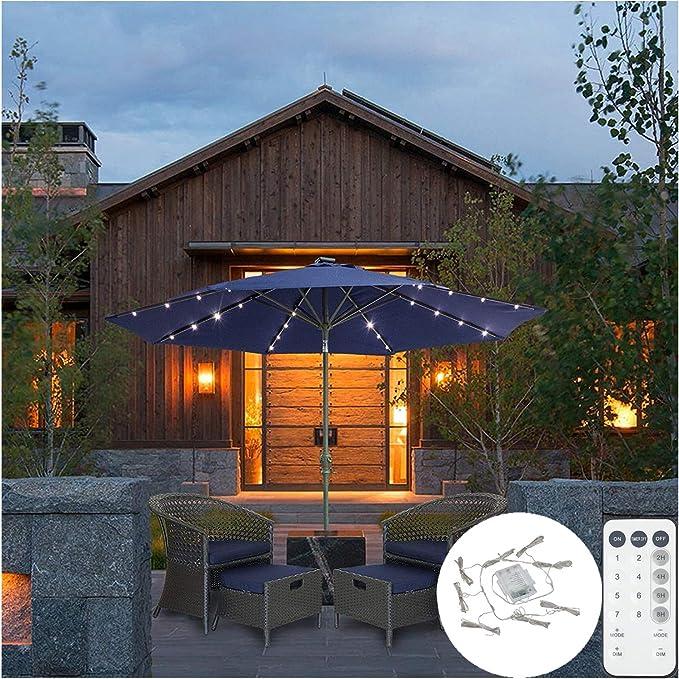 DBFairy - Luces para sombrilla de playa, patio, funciona con pilas ...