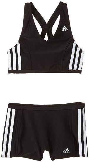 0eace58c41 adidas Girl's Infinitex 3-Stripes V-Neck Swimsuit-Black/White, Size ...