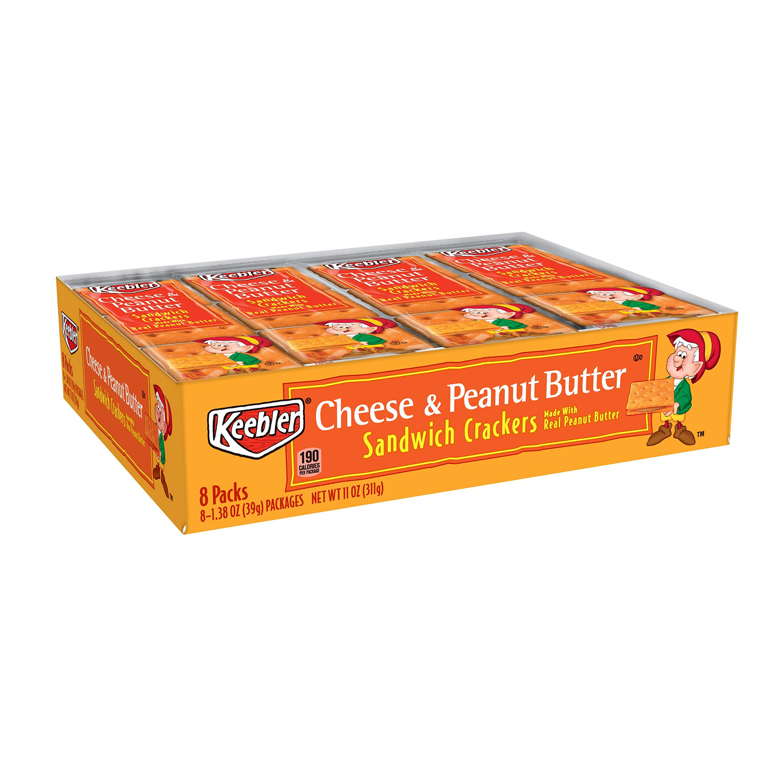 Keebler Cheese and Peanut Butter Sandwich Crackers, Single Serve, 1.38 oz Packages, 8 Count(Pack of 6) by Keebler Sandwich Crackers