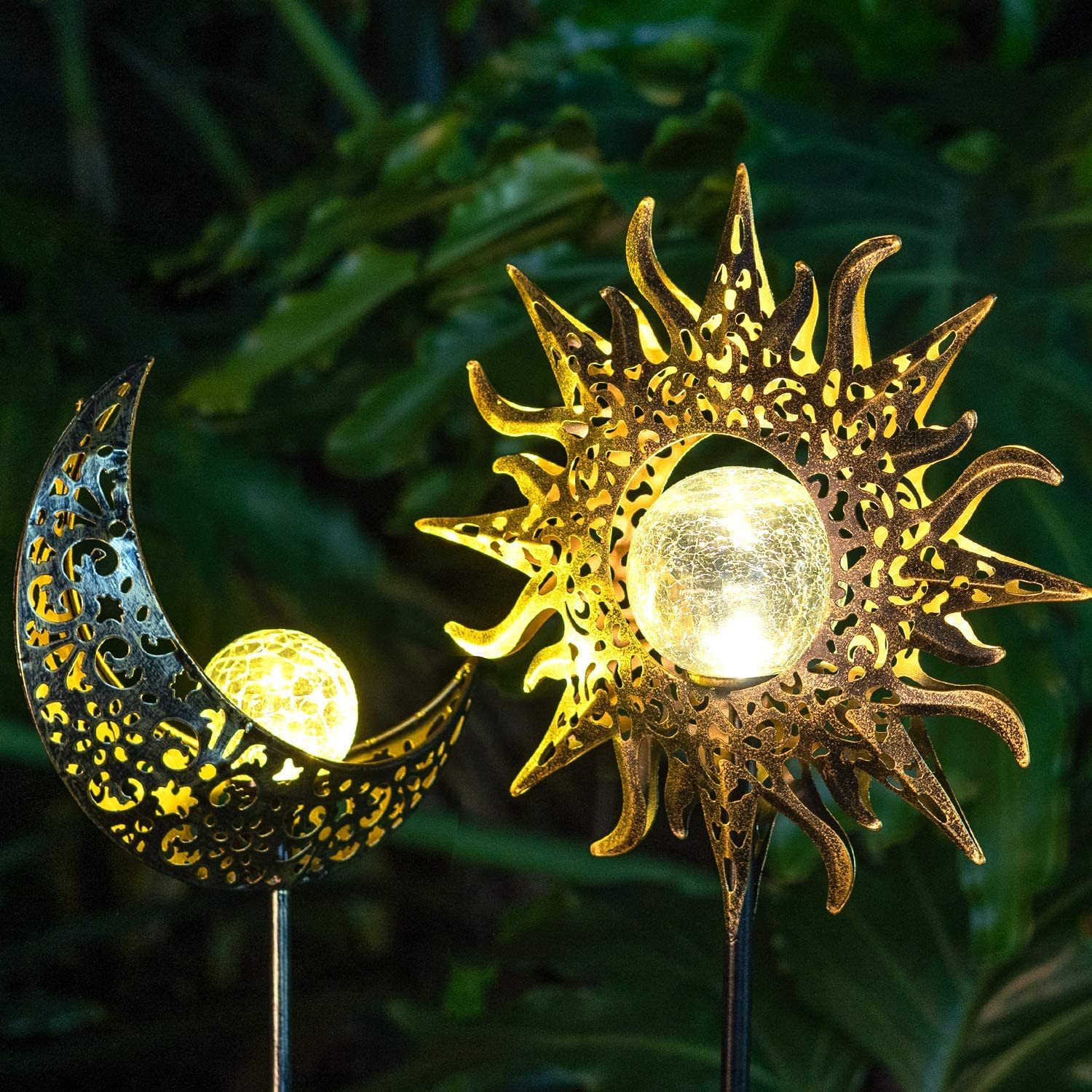 Solar Lights Outdoor Garden Decorative,Waterproof Metal Sun Moon Stakes,Garden Art Crackle Glass Globe Lights for Walkway,Yard,Lawn, Patio
