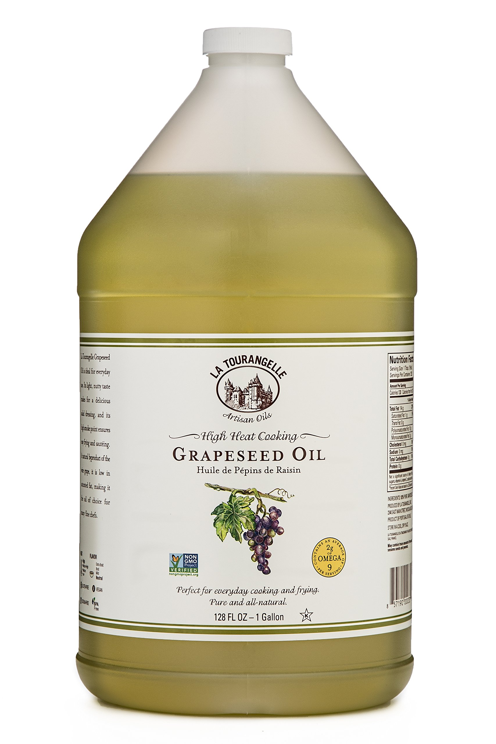 La Tourangelle, Grapeseed Oil, 128 Fluid Ounce, All-Natural, Artisanal, Great for Cooking, Sauteing, Marinating, and Dressing by La Tourangelle