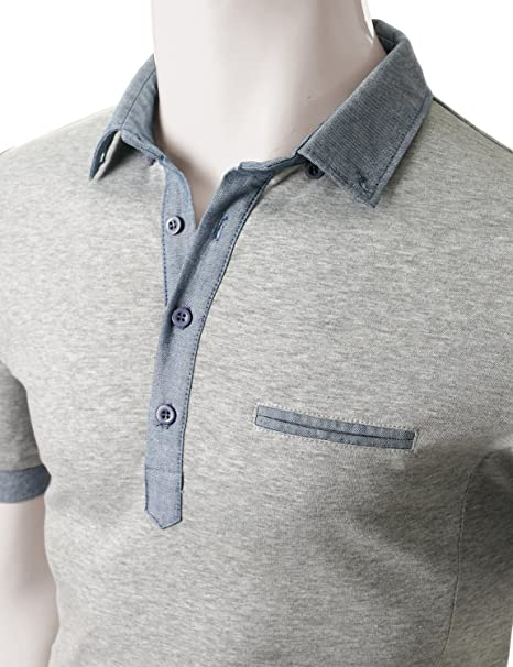 Doublju Men Soft Short Sleeve Slim Fit Polo Shirt Gray, 2XL at Amazon Mens Clothing store:
