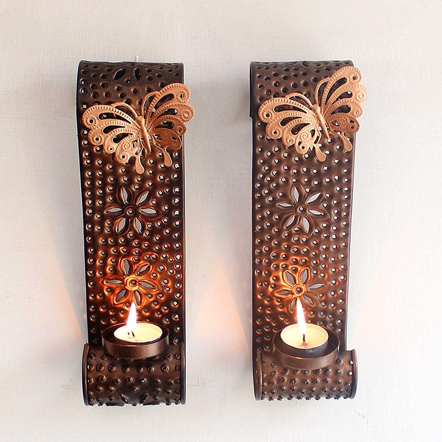 Set of 2 Marigold Stores Beautiful Attractive Antique Gold Butterfly Design Metal Candle Holder Wall Art for Living Room Bathroom Dining Room Decoration
