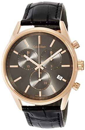 Calvin Klein Reloj Cronógrafo para Hombre de Cuarzo con Correa en Cuero K4M276C3: Amazon.es: Relojes