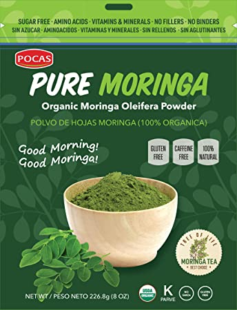 Pocas Pure Organic Moringa Powder, 8 Ounce (Pack of 2)