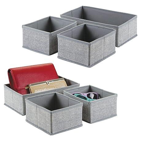 mDesign Juego de 6 cajas organizadoras de tela – Los organizadores para cajones y armarios ideales