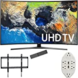 """Samsung 65"""" Curved 4K Ultra HD Smart LED TV 2017 Model (UN65MU7500FXZA) with Xtreme Ultra Slim Flat Wall Mount for 60-100 Inch TVs & Stanley Transformer Tap USB w/ 6-Outlet Wall Adapter & 2 Ports"""