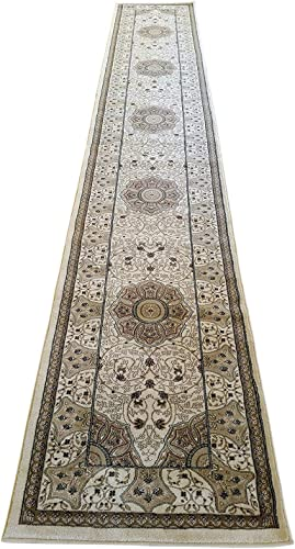Persian Traditional Long Runner Area Rug Ivory 500,000 Point Design 404 32in.X10ft.