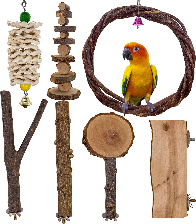 LIMIO Bird Toys 7 PCS Wood Bird Perch Parakeet Toys Bird Cage Accessories for Parrots Conure Supplies Budgie Platform