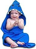 Hudz Kidz Hooded Baby Shark Towel, Soft 100% Cotton, Perfect for Newborn Through Toddler (Blue)
