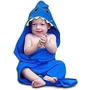 Hudz Kidz Hooded Baby Towel, Soft 100% Cotton, Perfect for Newborn Through Toddler (Blue Shark)
