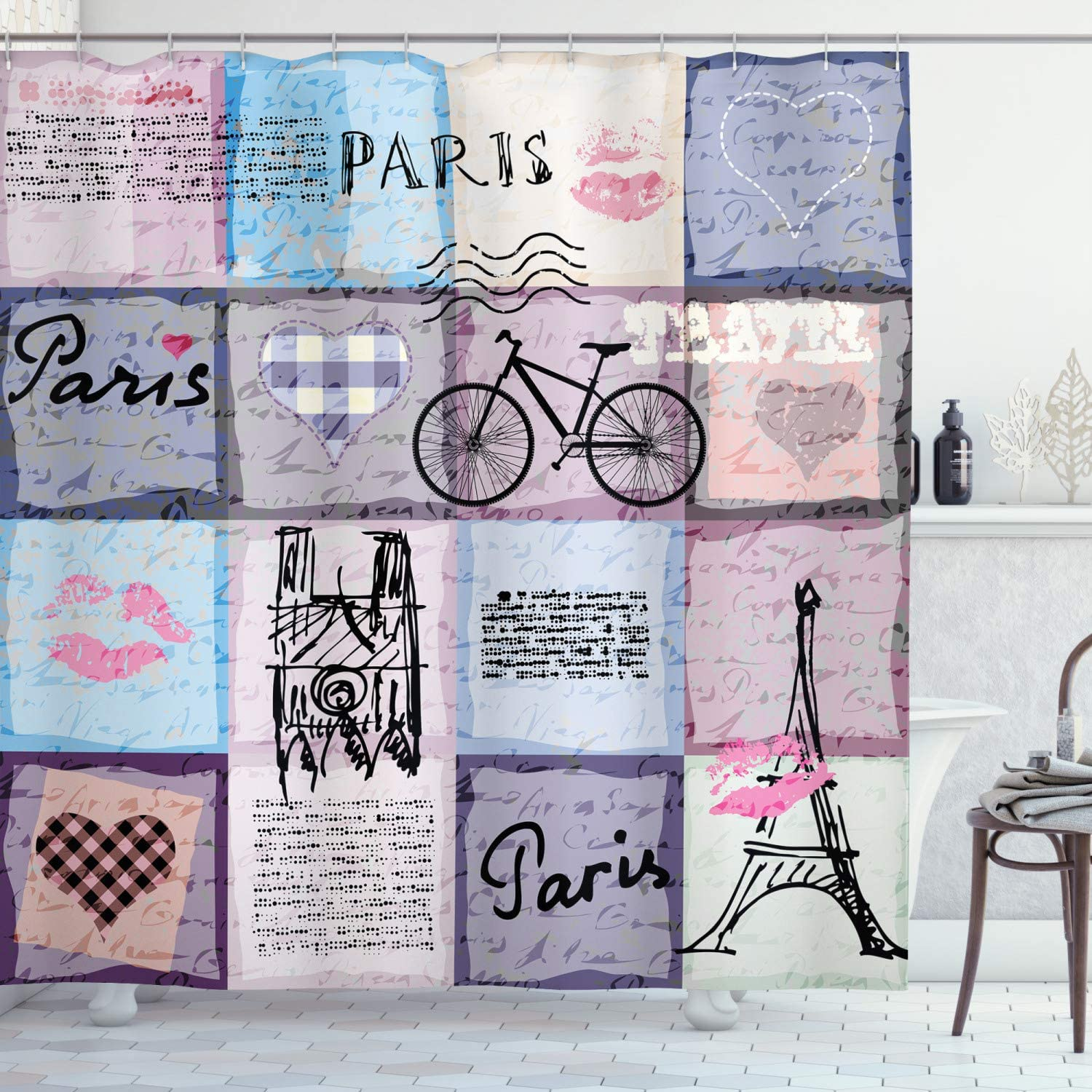 Ambesonne Paris Shower Curtain, Grunge Textured Retro Collage of Paris with Famous Object Eiffel Tower Europe Theme, Cloth Fabric Bathroom Decor Set with Hooks, 70