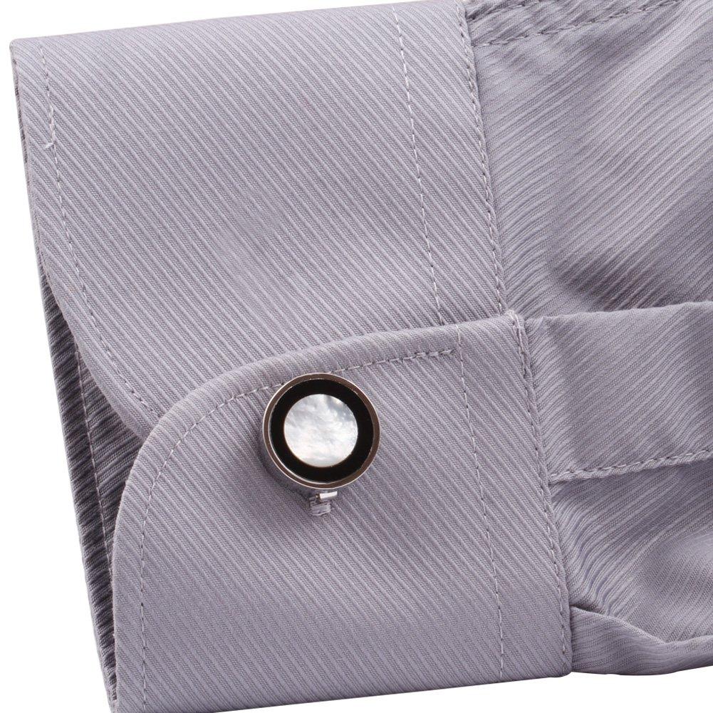 DIGABI Quadratisch Verglasung Manschettenkn/öpfe 18/K Platin Herren Shirt Cuff Tasten Fashion Cuff Ohrstecker