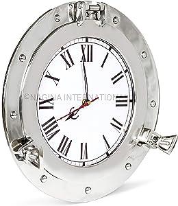 Nagina International Premium Silver Lined Aluminum Nickel Coated Nautical Ship's Porthole Window ! Maritime Wall Decor Mirror | Exclusive (15 Inches, Clock)