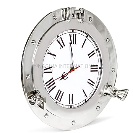 Nagina International 12 Premium Silver Lined Aluminum Nickel Plated Nautical Ship s Porthole Time s Clock Maritime Wall Decor Exclusive