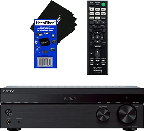 Sony Bluetooth Connectivity 2 Channel Stereo Receiver with Turntable Input, 4 Audio Inputs, A B Speaker Function FM Tuner Remote Control HeroFiber Ultra Gentle Cleaning Cloth