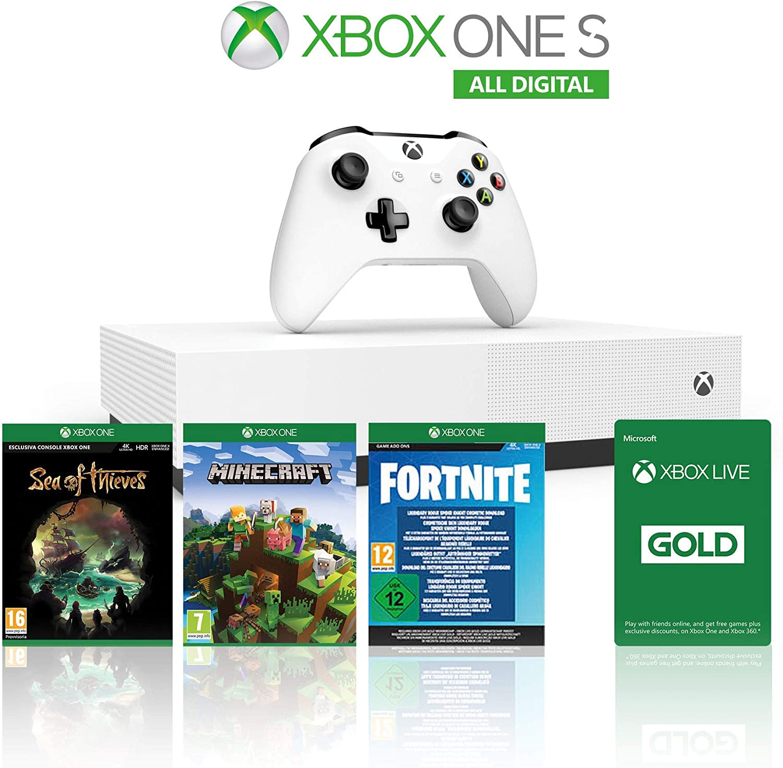 Xbox One S 1TB All Digital Edition Console + 1 Mese Xbox Live Gold + 3 Digital Games Inclusi (Sea of Thieves, Minecraft, Fortnite Legendary EvolvingSkin & 2000 V-Bucks) [Importación italiana]