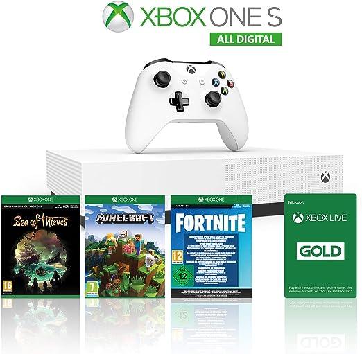 Xbox One S 1TB All Digital Edition Console + 1 Mese Xbox Live Gold + 3 Digital Games Inclusi (Sea of Thieves, Minecraft, Fortnite Legendary Evolving Skin & 2000 V-Bucks) [Importación italiana]: Amazon.es: Videojuegos