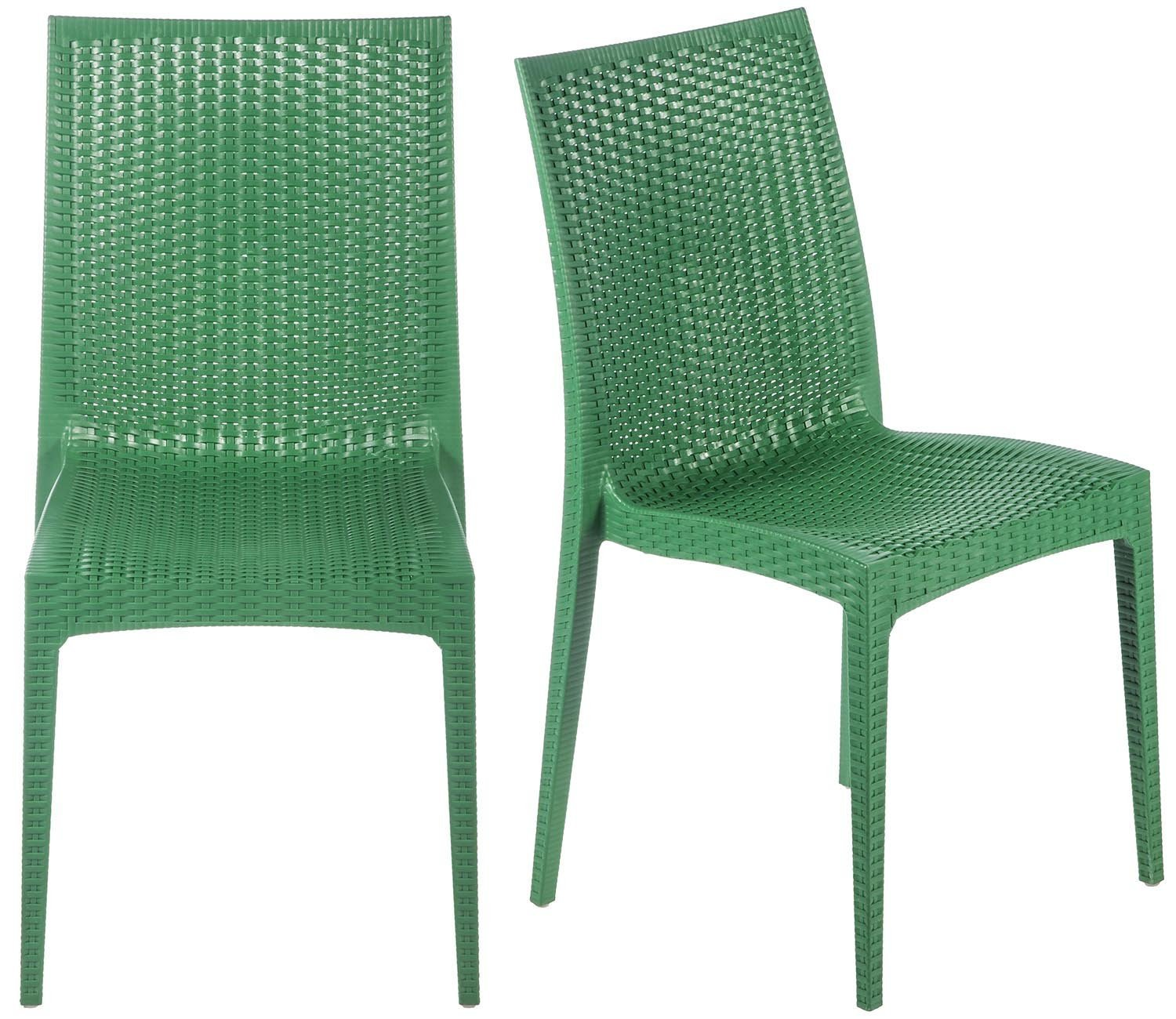 Merax Rattan Style Stackable Plastic Dining Chairs, Set of 2, Green