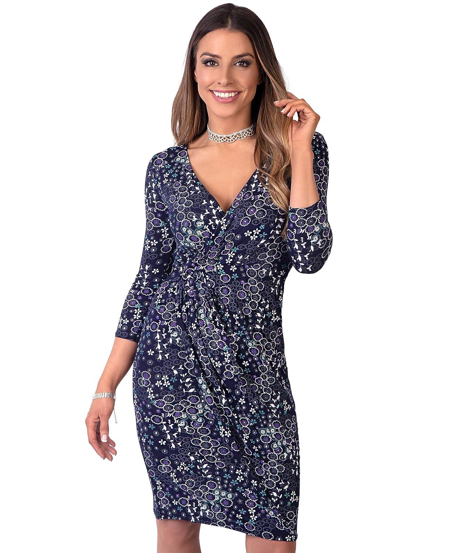 TALLA 46. KRISP Vestido Corto Ajustado Moda Mujer Azul Marino (4273) 46