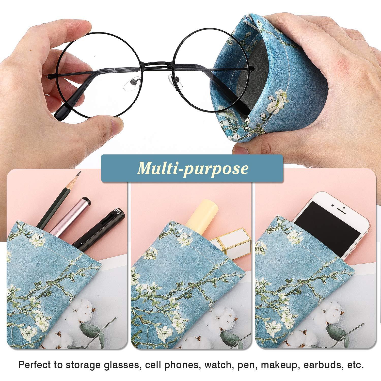 2 pezzi Astuccio Occhiali da Sole in PU Pelle Astuccio Morbido da Viaggio per Occhiali con Panno per Pulizia per Donna Uomo MoKo Custodia per Occhiali