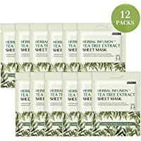(Tea Tree / 12 MASKS) - Herbal Infusion Tea Tree Extract Sheet Mask With Calendula Oil For Acne & Deep Moisture Fading Redness & Scars (Tea Tree / 12 MASKS)