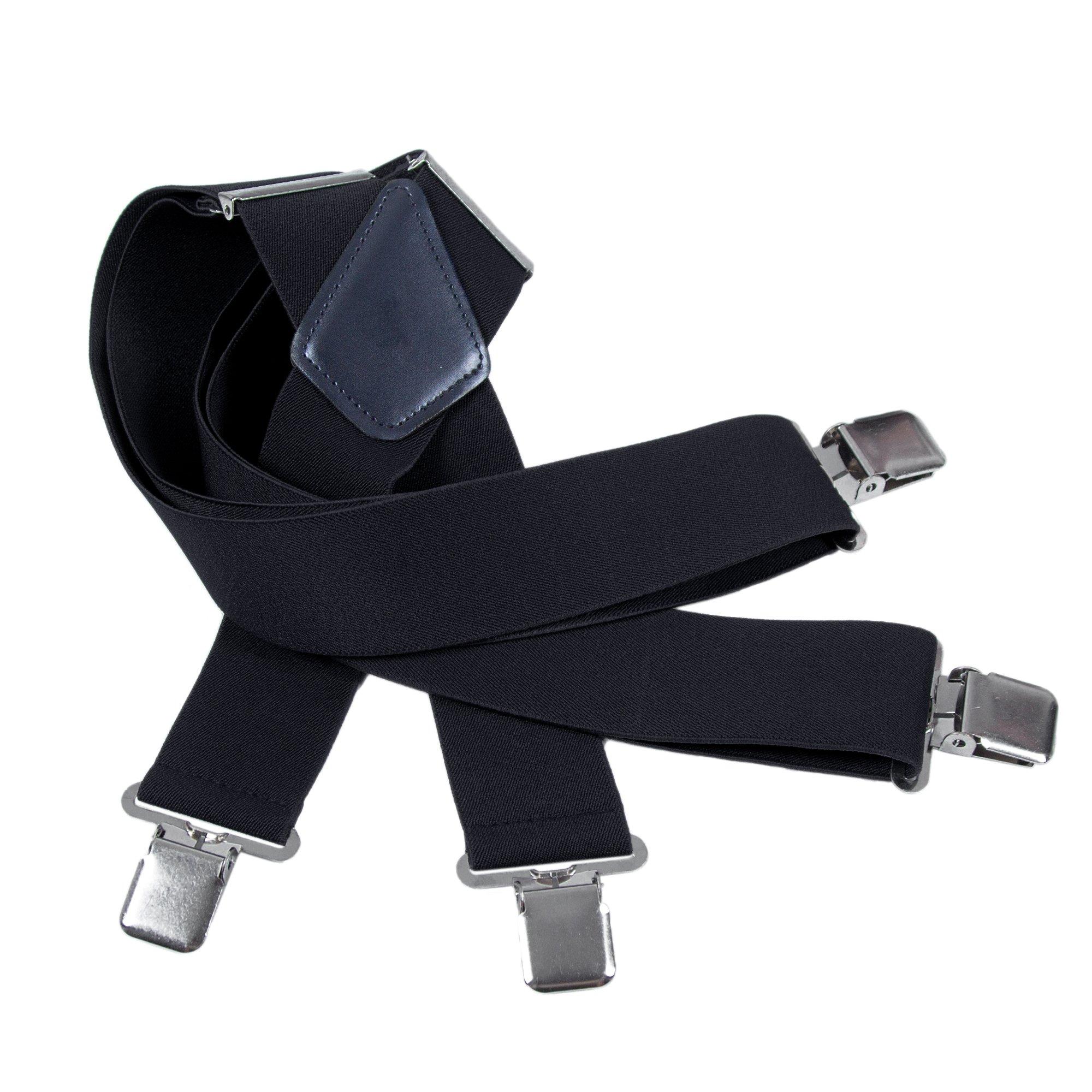 Mens Utility Suspenders X Shape - Wide 2'' Solid Straight Clip Suspender (Black)