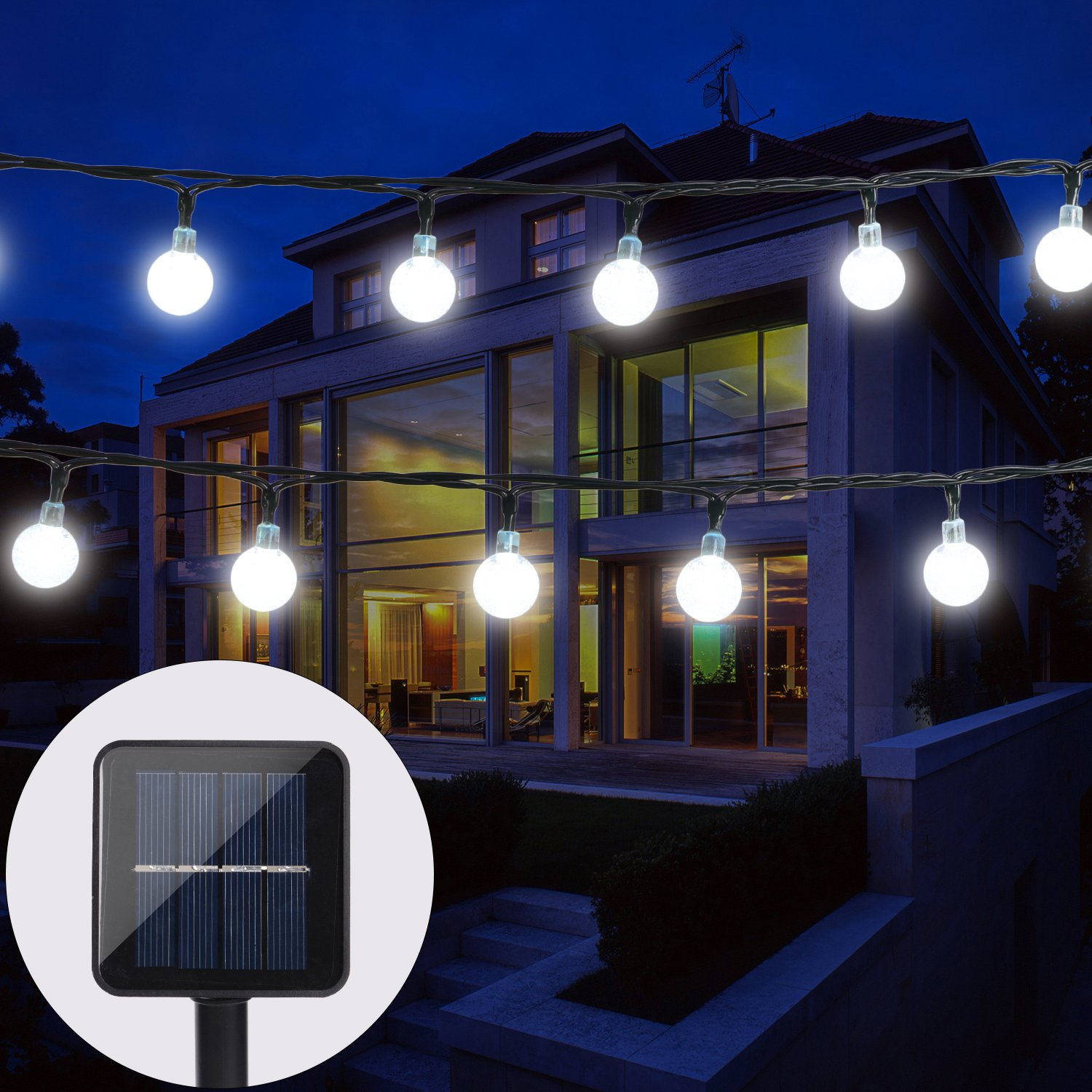 BAOANT Solar String Lights, 30 LED Starry Fairy Lights, 20 ft, Waterproof 1.2 V Portable with Light Sensor for Patio, Garden, Home, Wedding, Pathway, Party Decorations 2 Modes(Cool White) [Energy Class A+++] Solar Lichterkette
