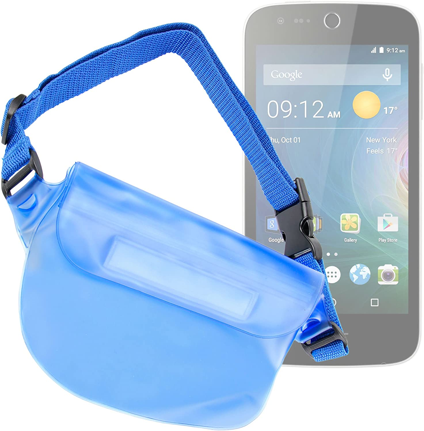 DURAGADGET Blue Water-Resistant Travel Pouch Case w/Waist Strap - Compatible with ACER Liquid Z320 | Z330 | Z530 & Z530S